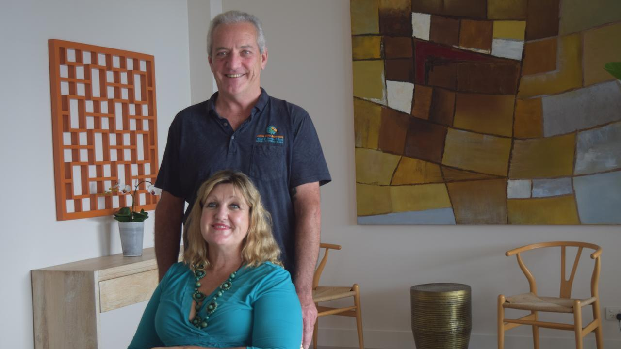 Coral Cove Apartments owners Patrick Riordan and Kate Lindsay had a long waiting list for school holiday bookings. Picture: Laura Thomas