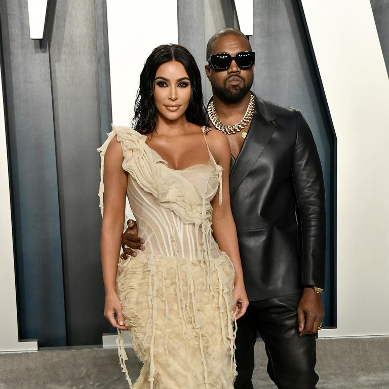 West with wife Kim Kardashian. Picture: Frazer Harrison/Getty