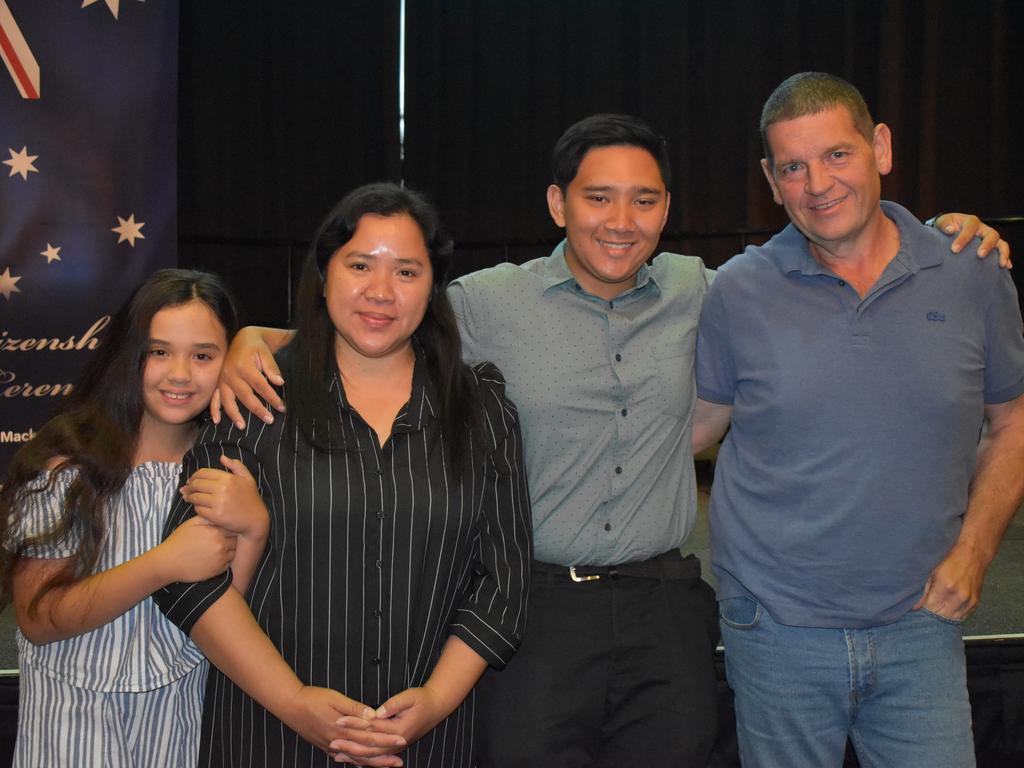New Australian citizen Carlos Roldan with his younger sister Kerren James, mum Claudine James, and dad Scott James.