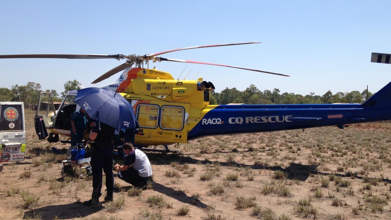 RACQ CQ Rescue helicopter rural bush mission.
