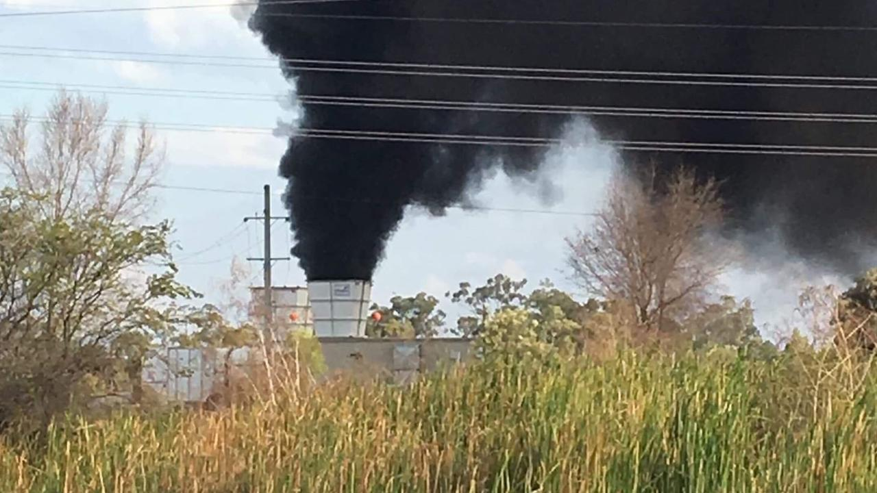 Smoke billows from the mine at North Goonyella from a fire that started in September 2018.