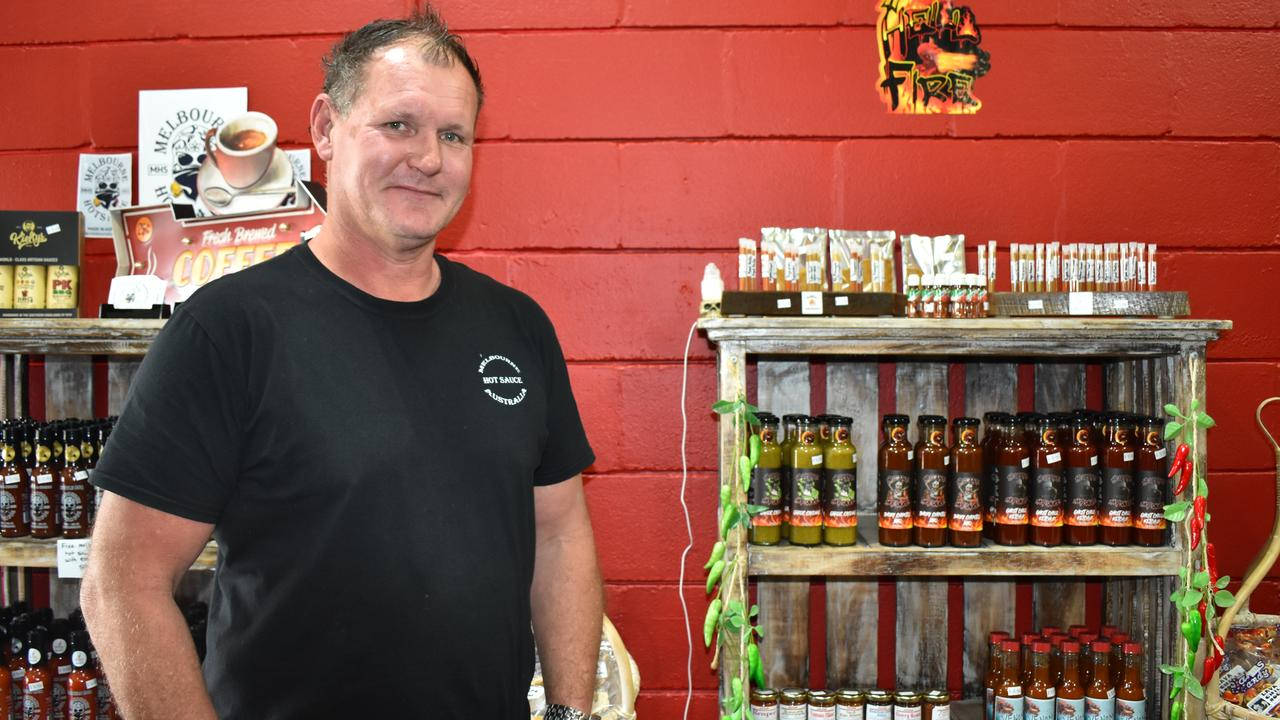 RED HOT: Business is booming for Dion Forbes after recently opening up the world's hottest chilli shop Hellfire Global Sauces. Picture: Rhylea Millar