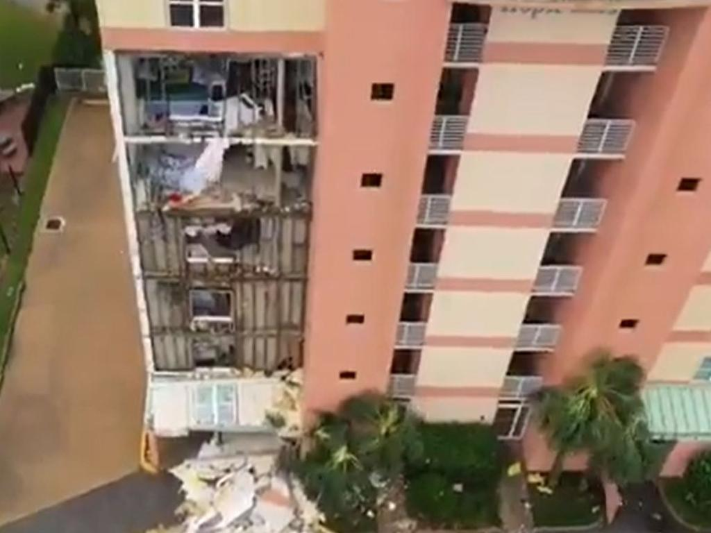 Winds tore the sides of this condominium in Gulf Shores, Alabama. Picture: Twitter.
