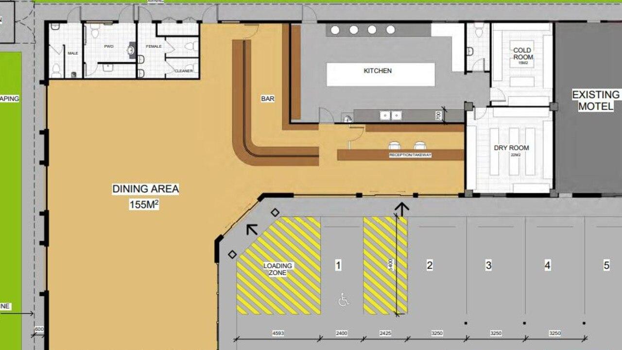 Plans for a new restaurant at the Hi-Way Units Motel at 215 Nebo Rd, Mackay.