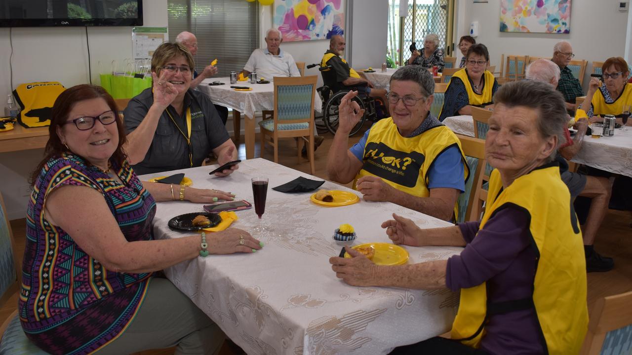 R U OK DAY: Janice Baldock, Stephanie Dobbin, Jill Murphy and Cindy Hamilton enjoying lunch and a drink. Picture: Rhylea Millar.