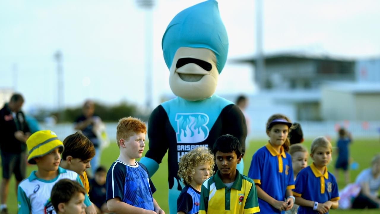 Brisbane Heat mascot 'Heater' was a hit with kids at the season launch on Wednesday afternoon. Photo: Callum Dick