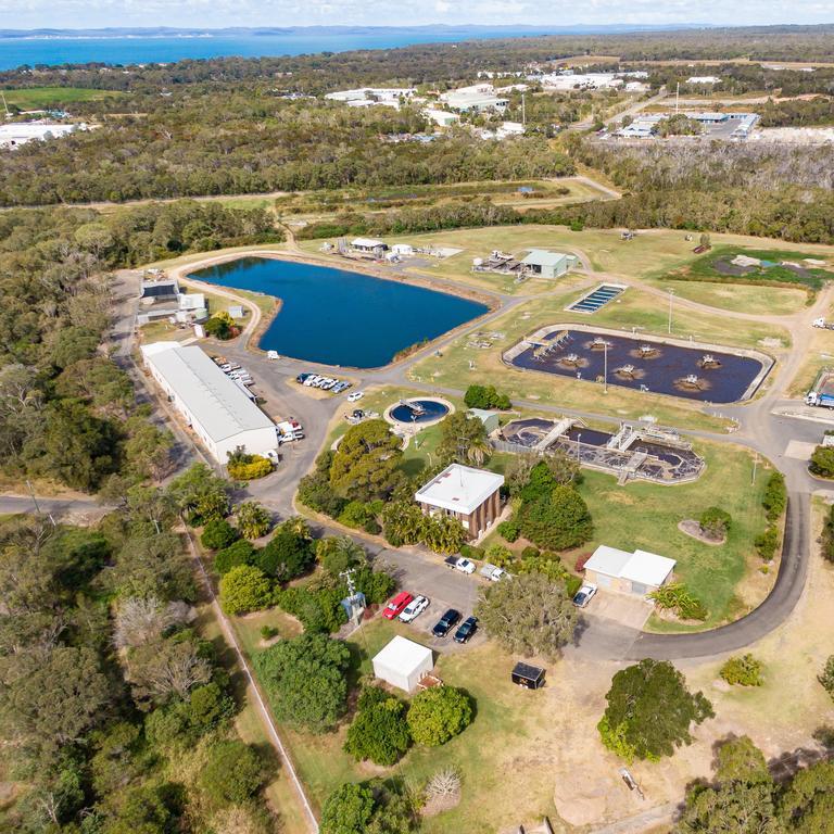 Drone photo of Hervey Bay's Pulgul Creek Sewage Treatment Plant.