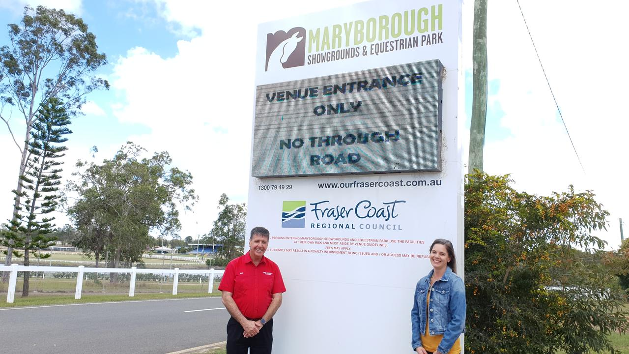 Member for Maryborough Bruce Saunders with Melinda Wright, president of the Fraser Coast Agriculture Show Society.