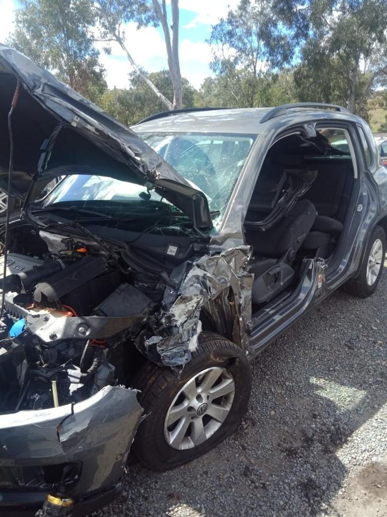 Tiguan VW destroyed in crash at Wide Bay Highway intersection with Bruce Highway on Wednesday, September 16, 2020.