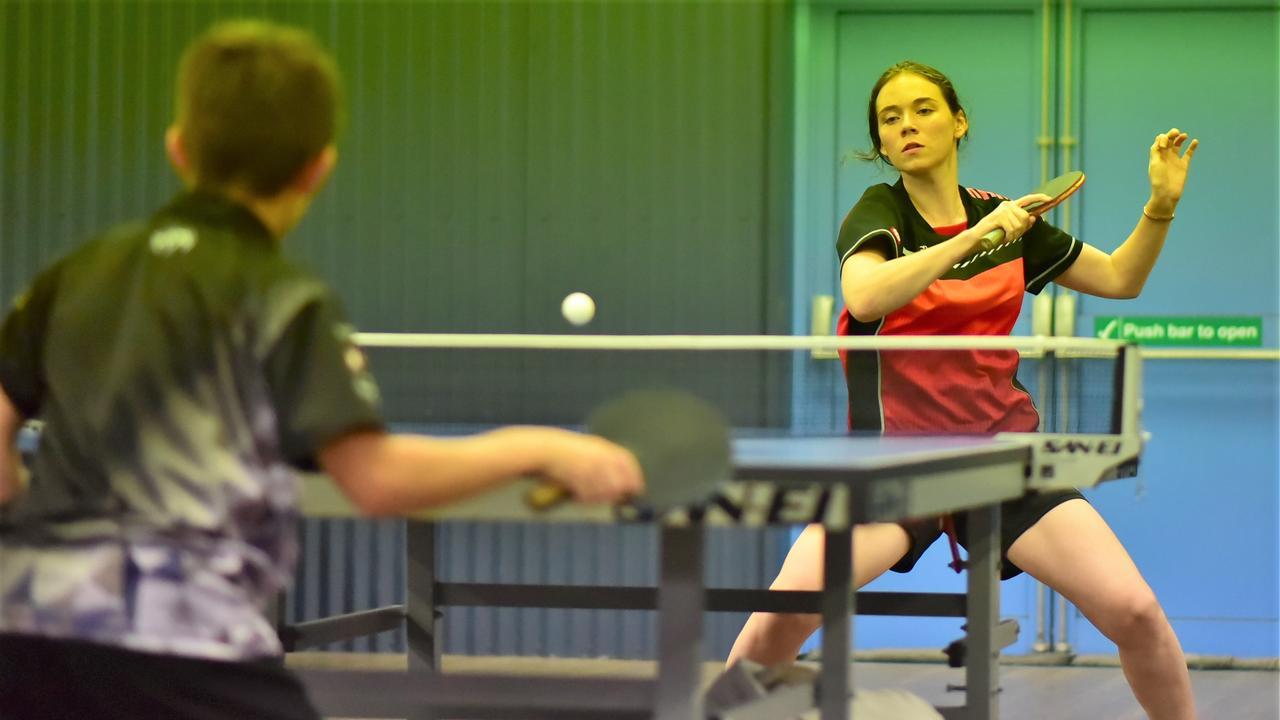 Mackay table tennis athlete Rebekah Stanley in action.