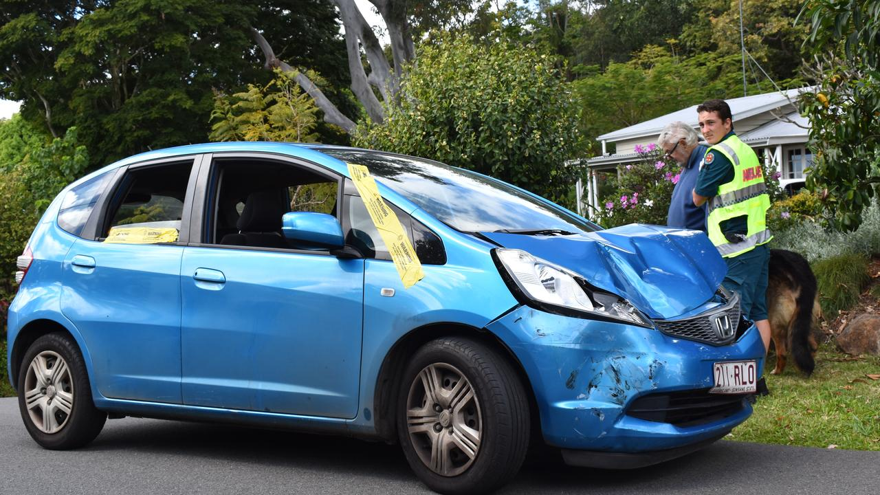 Emergency services attend the scene of a two car crash on Lindsay Rd at Buderim.
