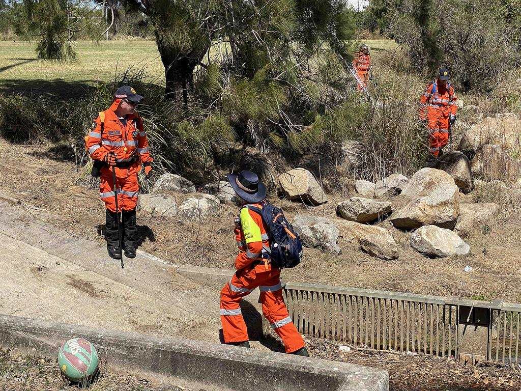 SES search fields and creeks around the crime scene in Zillmere. Pic Peter Wallis