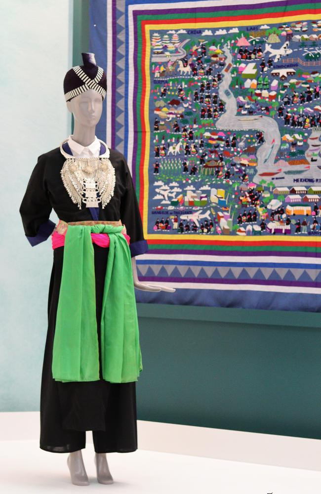 Jou Yang's Hmong Wedding dress she fought desperately to keep. Picture. Supplied Queensland Museum.