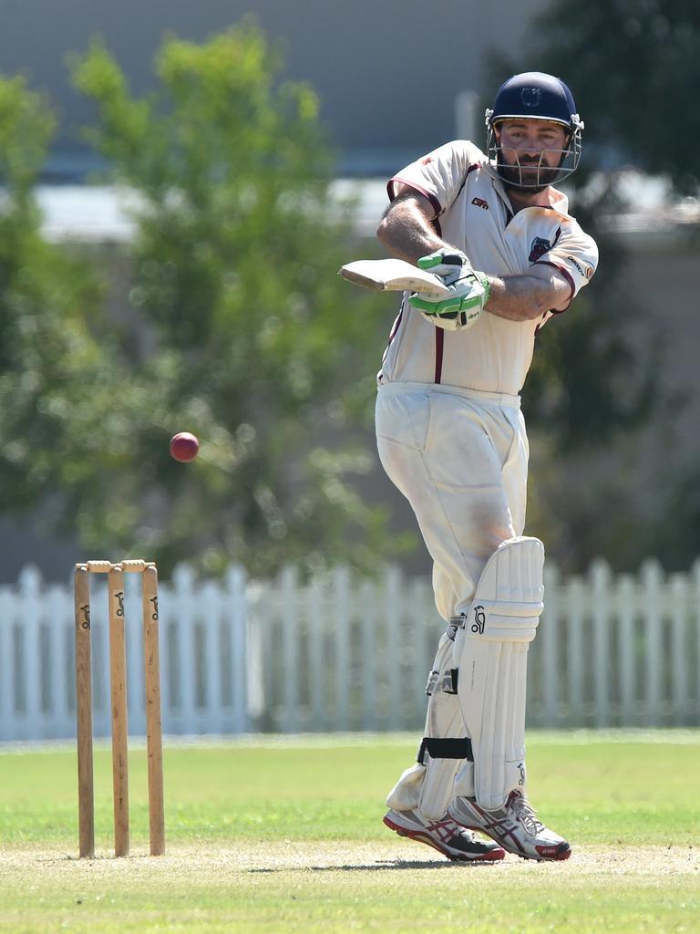 Caboolture batsman Glen Batticciotto pulls to the boundary last year.