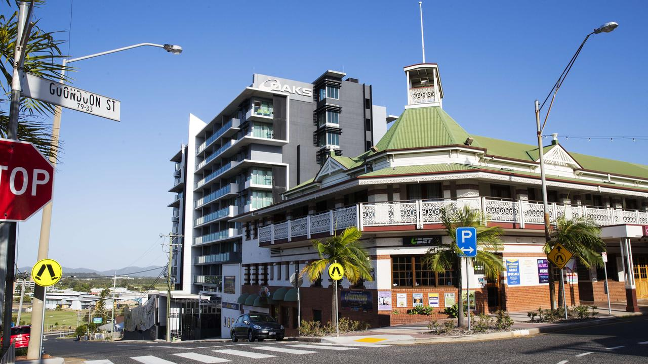 The Oaks Grand Hotel was visited by Manly NRL players in 2017 when they came to Gladstone to play the Gold Coast Titans. Photo Lachie Millard