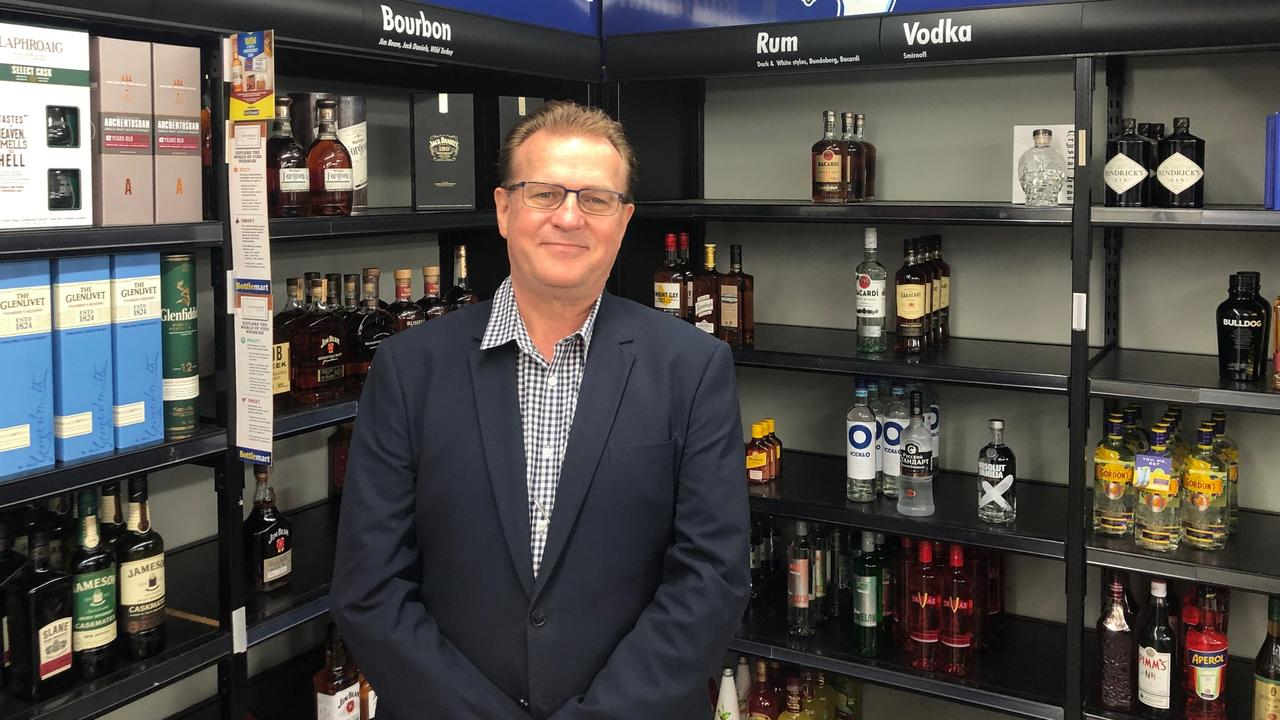 The Oaks Grand Hotel Gladstone general manager Michael Cahill in the former Bottlemart bottle shop at the hotel, which closed in July 2019.