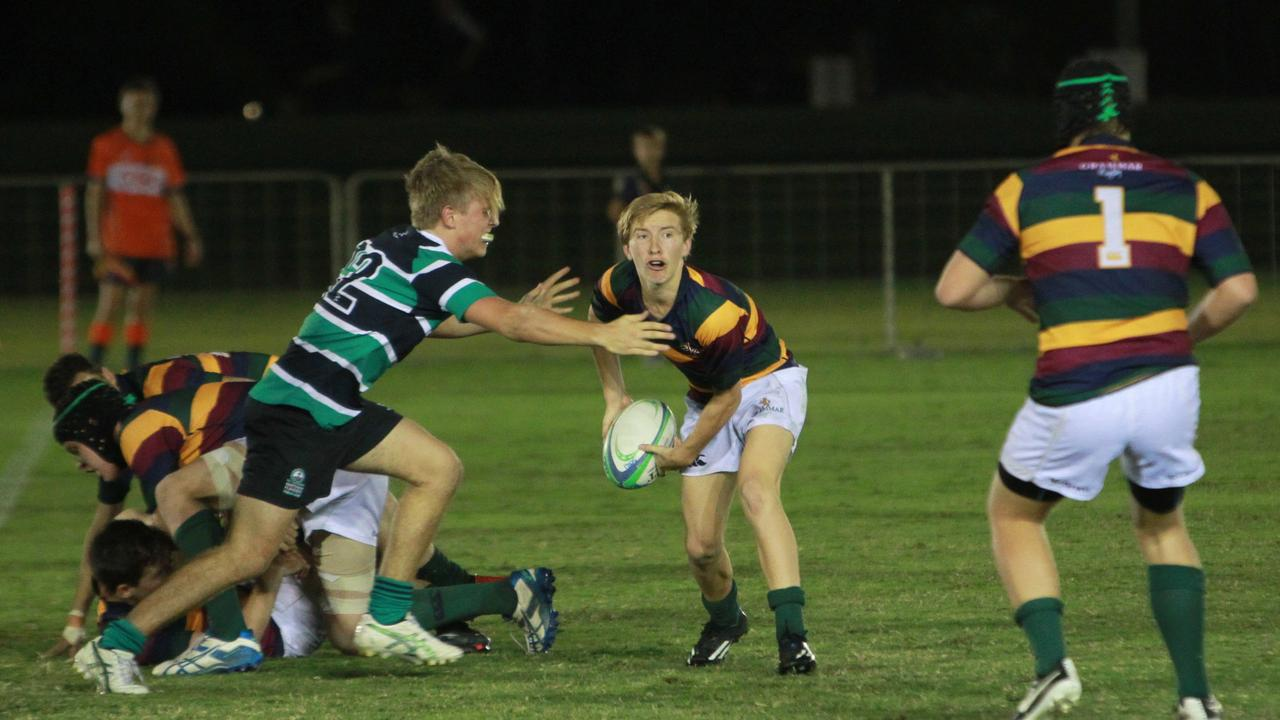 Tate McDermott in action for Sunshine Coast Grammar during the Sunshine Coast schoolboys rugby union grand final against Matthew Flinders Anglican College in 2014. Picture: Brett Wortman / Sunshine Coast Daily