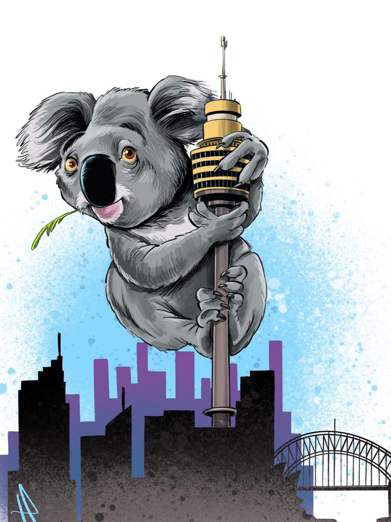The NSWe Nationals led by John Barilaro threatened to bring Gladys Berejiklian's government to crisis in a spat over koala sanctuaries. Column artwork Terry Pontikos for Daily Telegraph's Anna Caldwell Opinion.