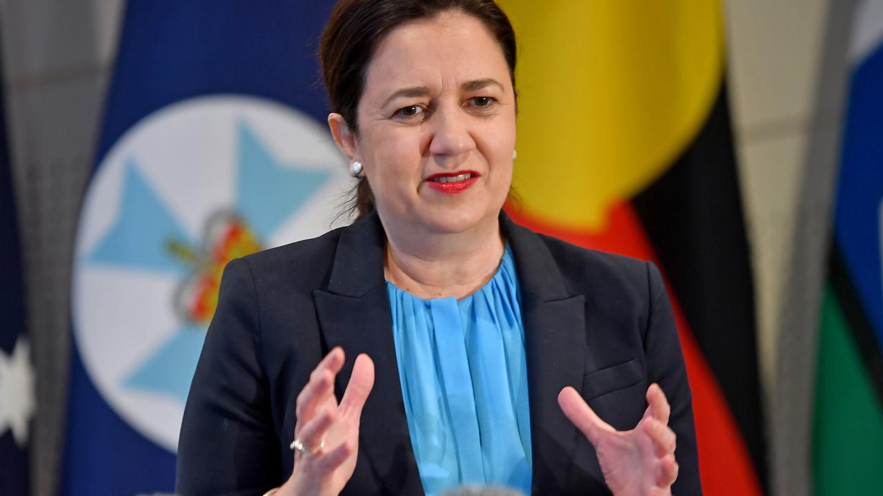 Premier Annastacia Palaszczuk at a press conference in Brisbane on Friday. Picture: NewsWire / John Gass