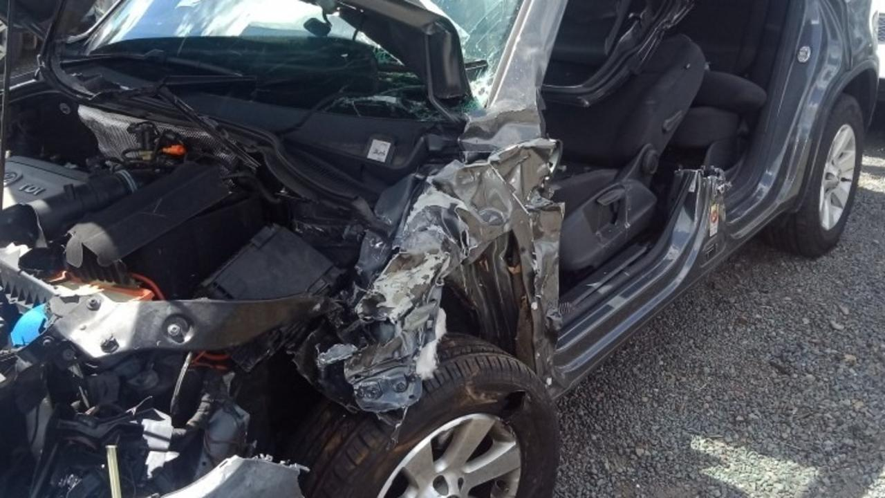 The Tiguan VW destroyed in a horror crash at Wide Bay Highway intersection with Bruce Highway on Wednesday, September 16, 2020.