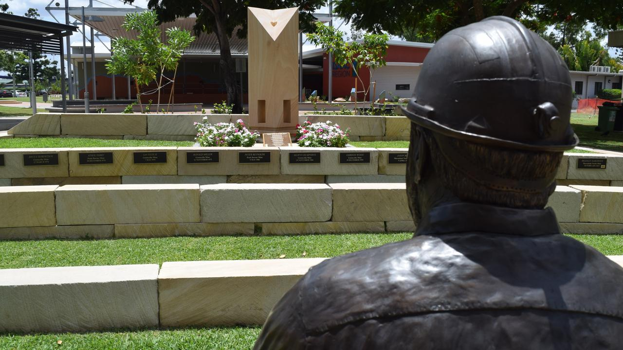 A memorial commemorating miners who have tragically lost their lives in Moranbah's mining industry features in the town's centre. Picture: Zizi Averill