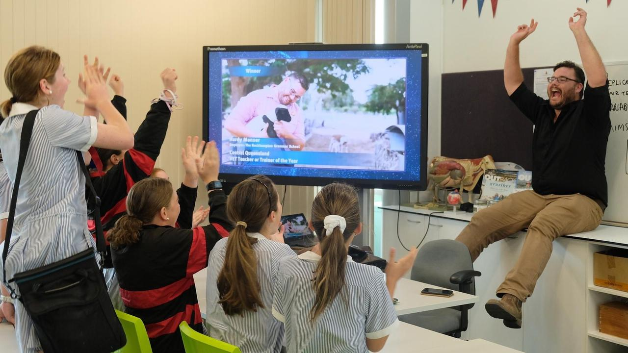Hardy Manser celebrating his win at this year's Queensland Training Awards with his Year 8 class. Picture: Contributed