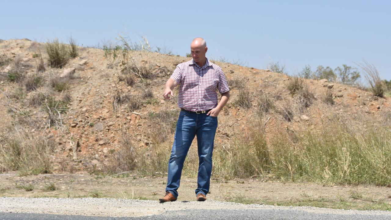 Gladstone MP Glenn Butcher at the site of a $1.7m upgrade and widening of Gladstone Monto Road between Nagoorin and Ubobo.