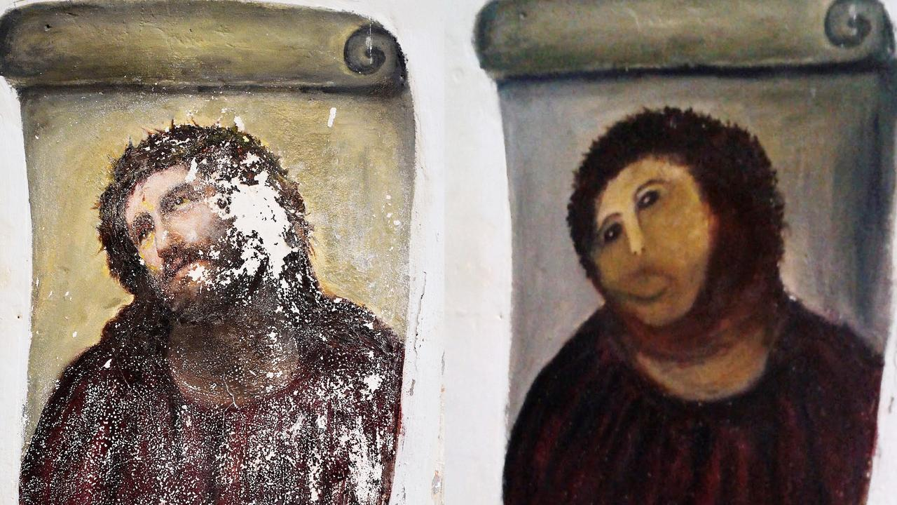 Before and after shots of the 20th century Ecce Homo-style fresco of Christ before (left) and (right) after elderly amateur artist Cecilia Gimenez took it upon herself to restore it. Picture: AP