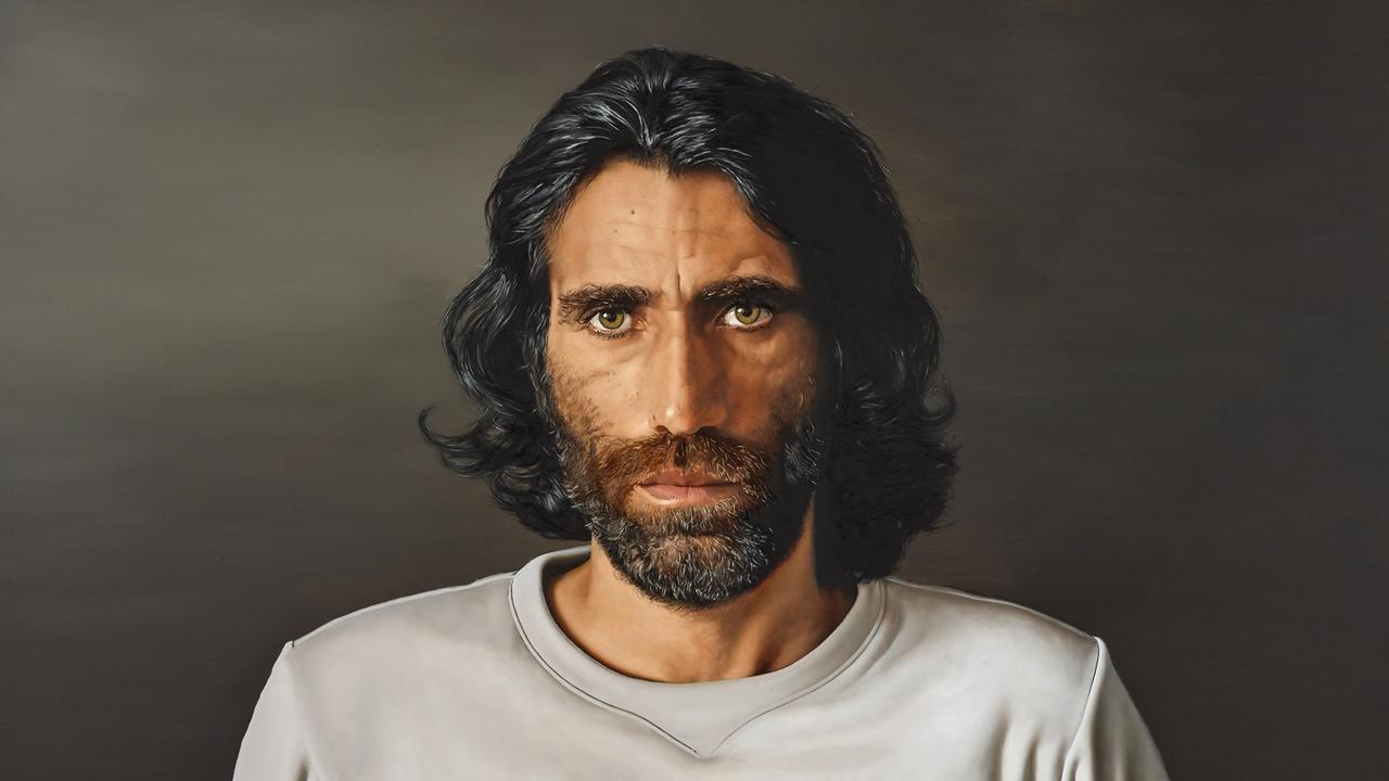 Archibald Prize 2020 finalist Behrouz Boochani by Lennox Head artist Angus McDonald; oil on canvas, 160 x 230 cm.