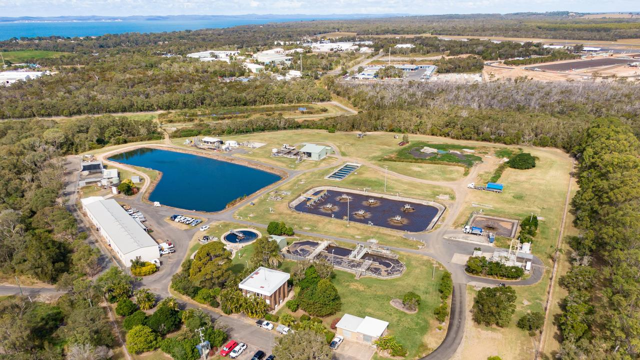 Drone photo of Hervey Bay's Pulgul Creek Sewage Treatment Plant.