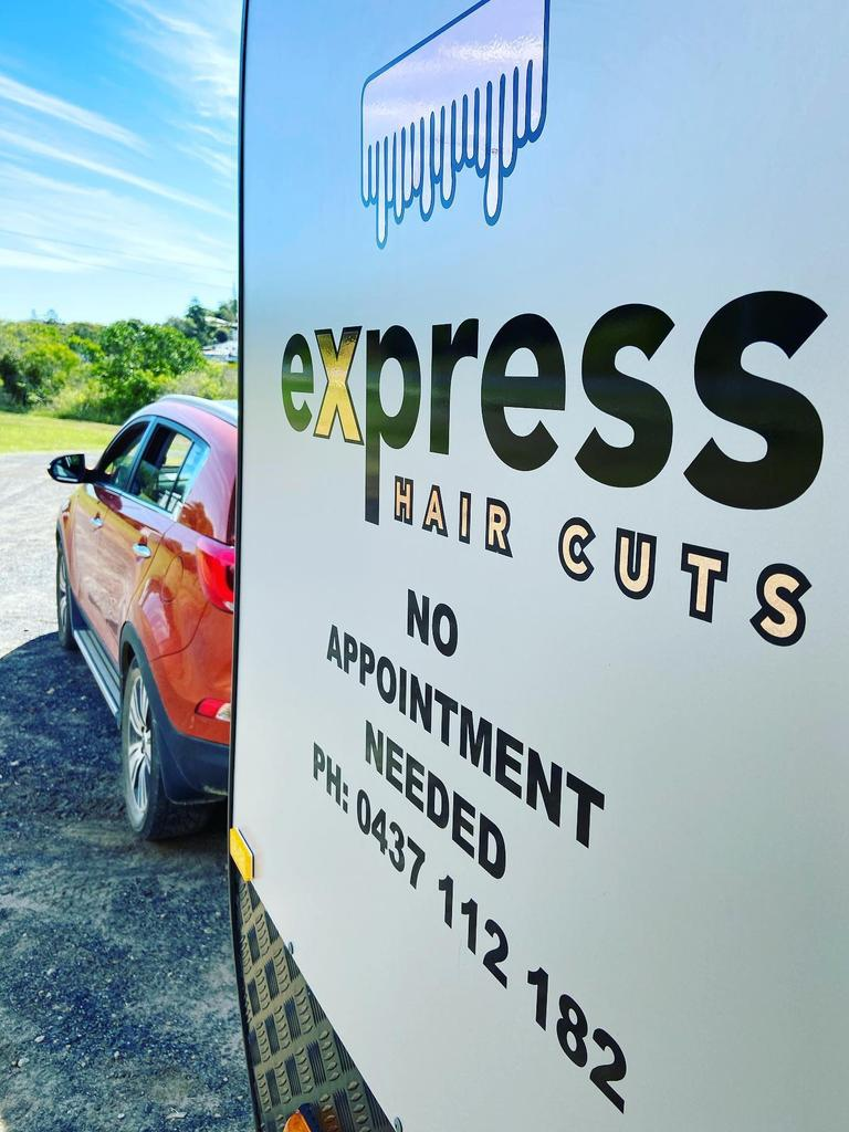 The Express Haircuts van sits at Ross Creek.