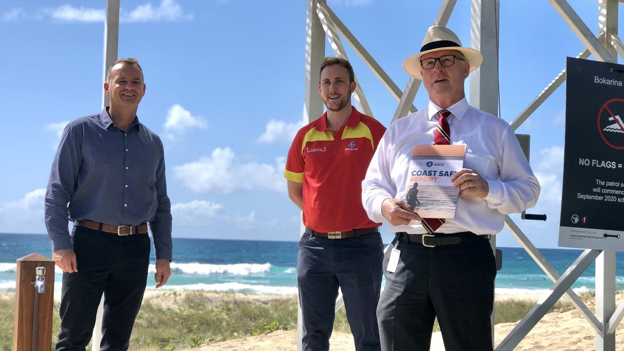 Mayor Mark Jamieson, Division 3 Councillor Peter Cox and SLSQ regional manager Aaron Purchase at the new Bokarina Beach lifeguard tower. Photo: Ashley Carter