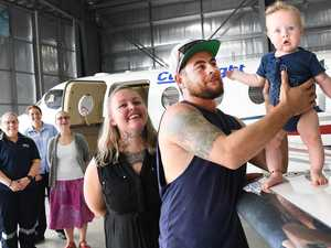 Baby and family reunited with hero team that saved his life