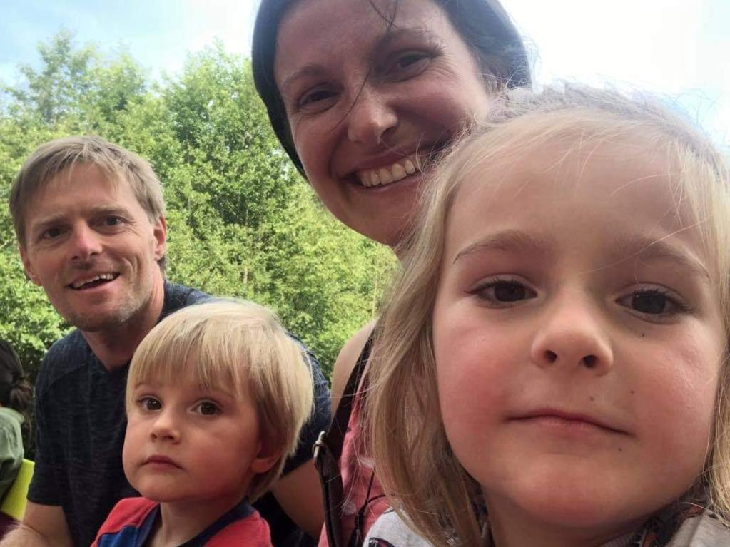 Bob Newton, of Frankston, Melbourne has been stuck in the UK and now risks being forced to live in Airbnb's because his lease is running out. Pictured with his partner Andrea, 39, and children Harry and Dylan. Picture: Supplied