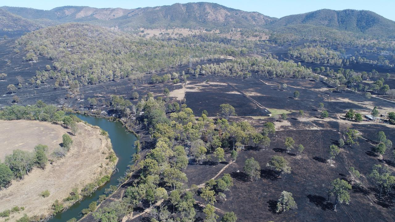 Drone shot of the devastation in Woolooga after a fire destroyed more than 4700 acres.