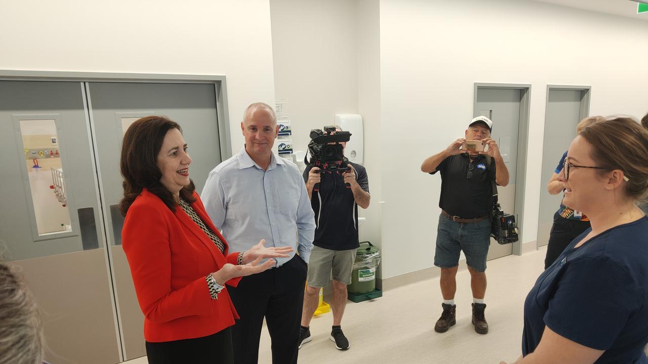 Premier Annastacia Palaszczuk and MP Glenn Butcher talk to nurse Liz Bellas in the new Gladstone Hospital $42 million emergency department. Picture: Rodney Stevens