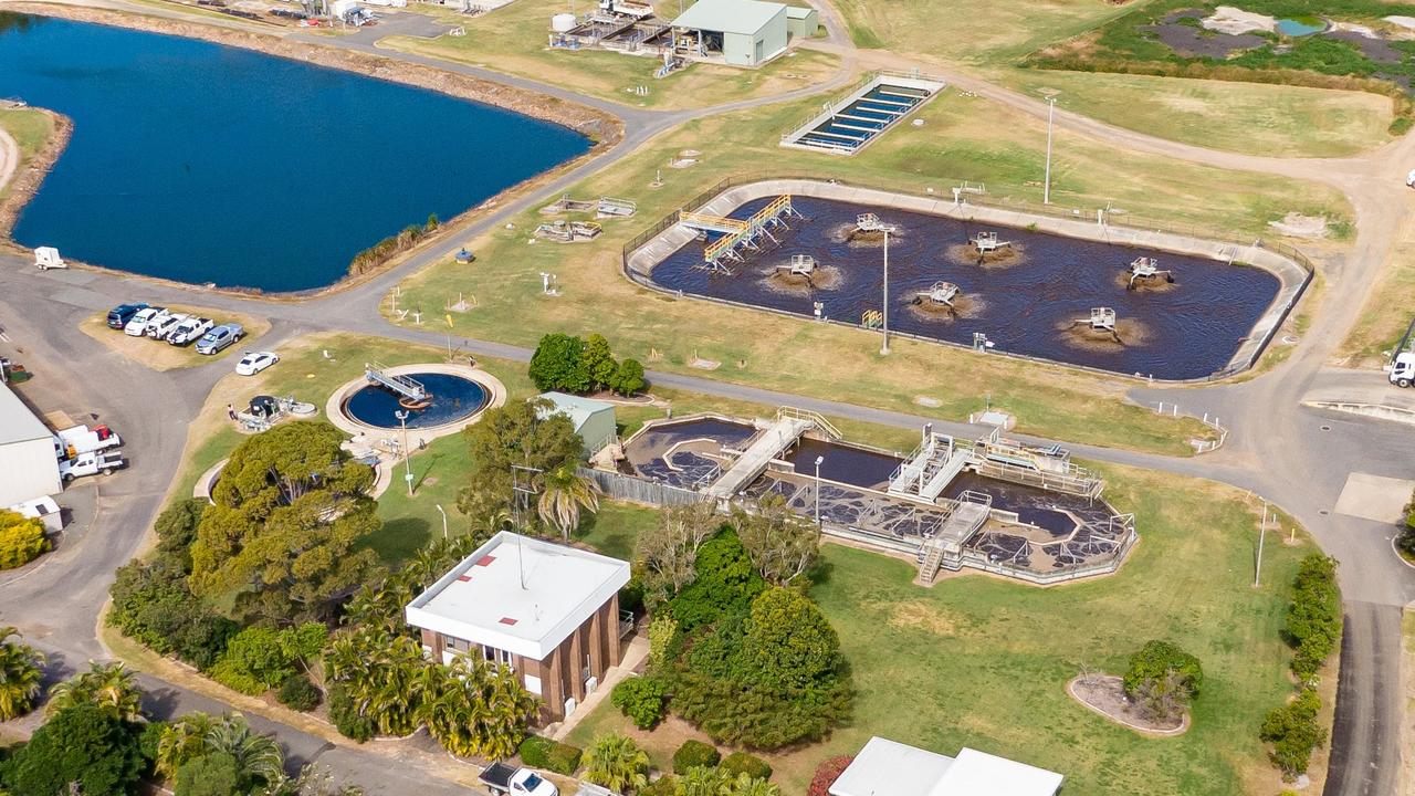 Drone photo of Hervey Bay's Pulgul Creek Sewage Treatment Plant, which tested positive and then negative for COVID-19 during the week.