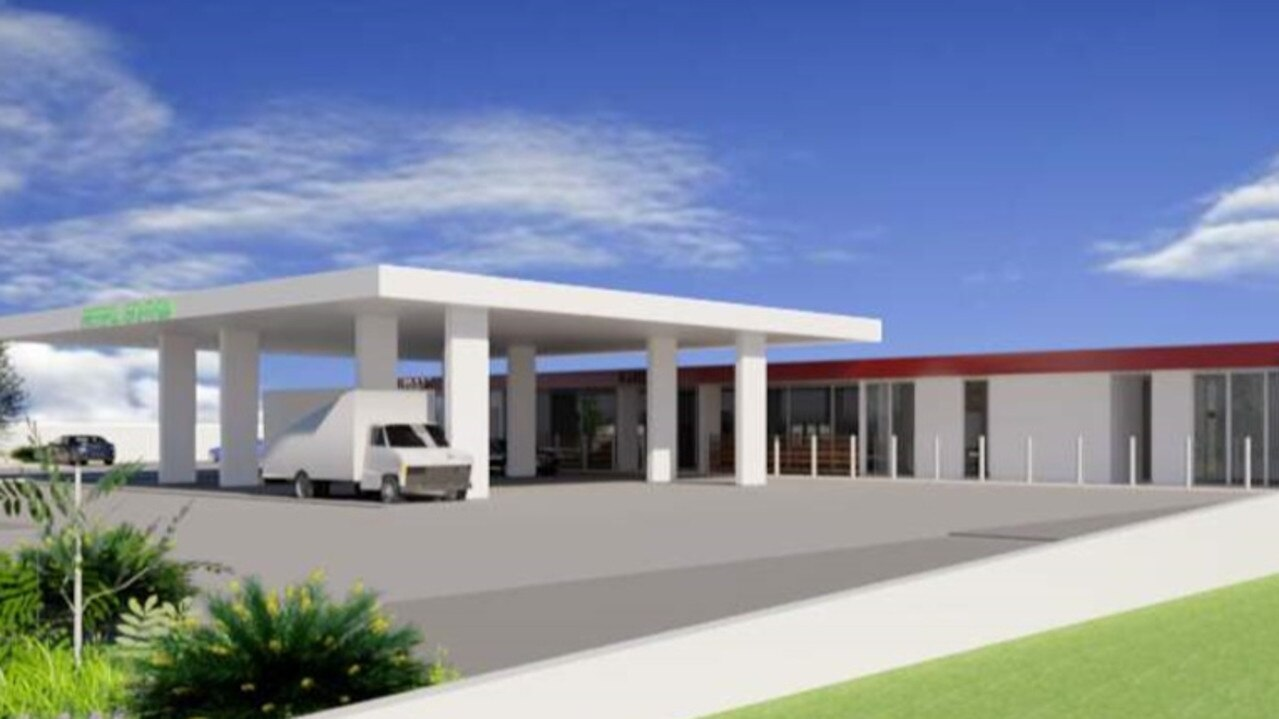 A model of the proposed new Rainbow Beach service station expected to be approved by the council this week with significant conditions imposed.