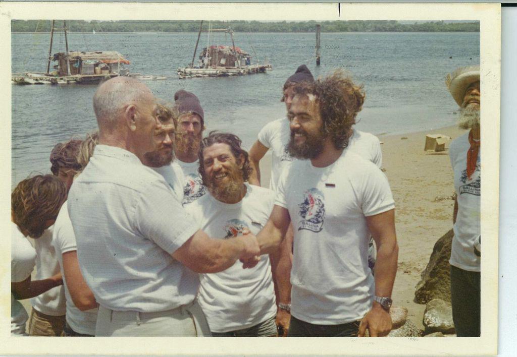 Vital Alsar and Las Balsas crew arriving in Ballina, November 21, 1973.