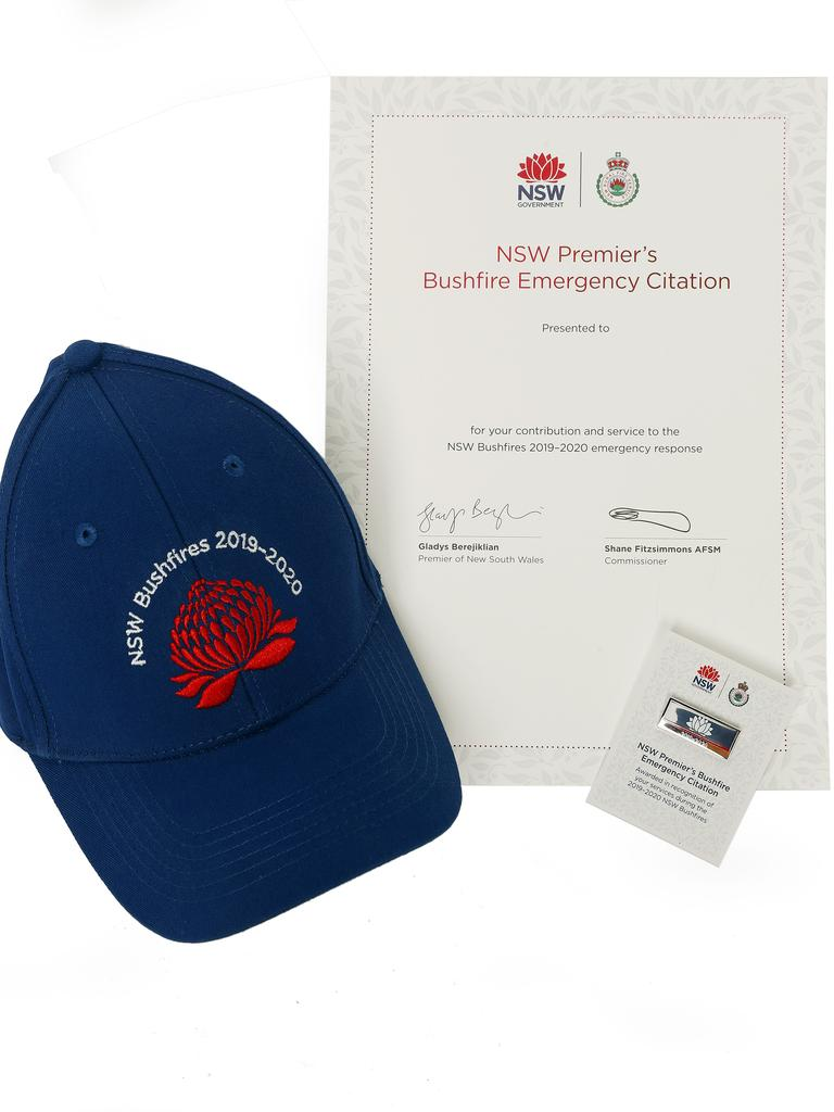 The citation package that will be sent out to 65,000 people who toiled throughout the bushfires. Picture: Sam Ruttyn