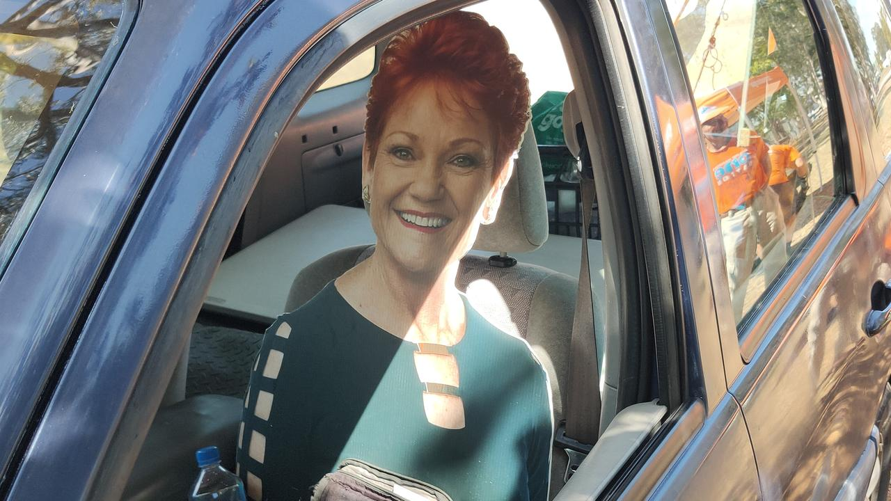 Passers-by could have been mistaken that Pauline Hanson was in Gladstone recently - it was cardboard cut-out. Picture: Rodney Stevens