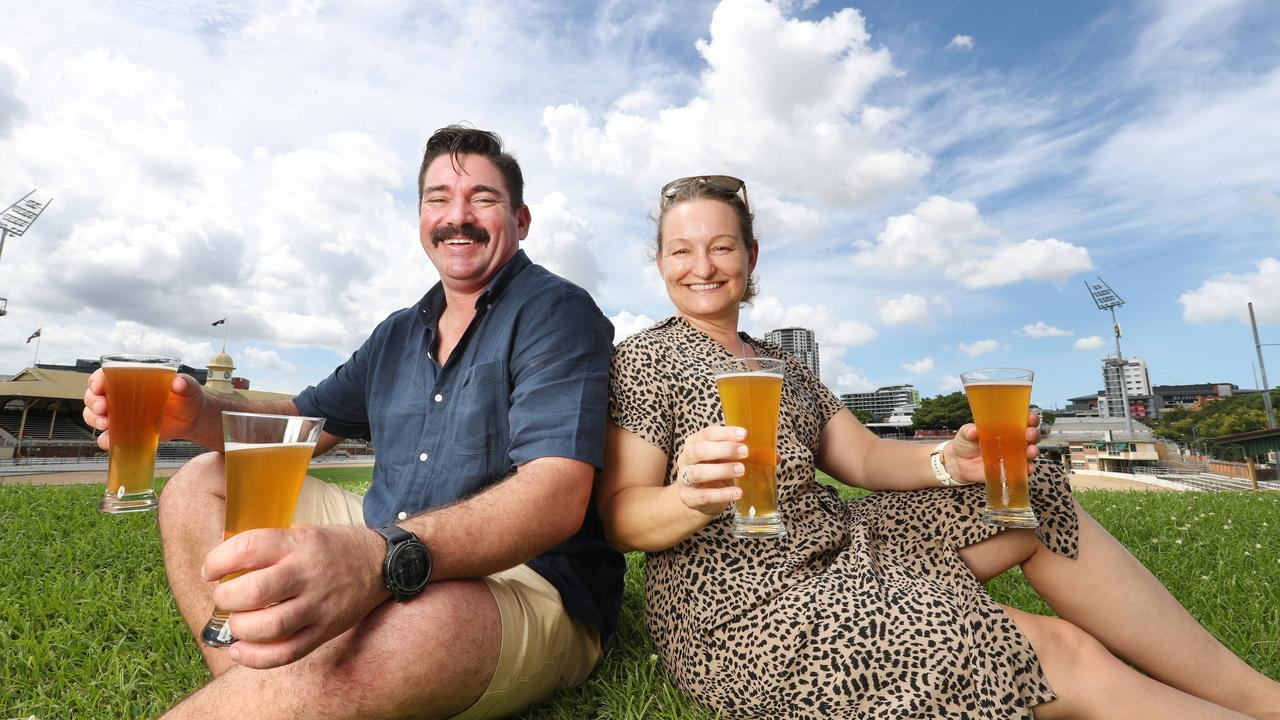 Matt and Shaz Wilson from Moffat Beach Brewing Co with their award-winning beer. Pic Annette Dew