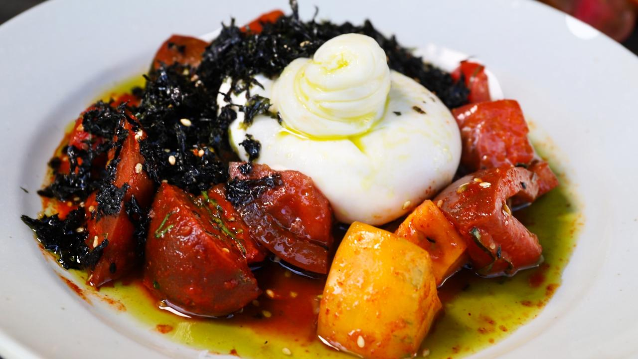 Burrata with heirloom tomatoes. Picture: Jenifer Jagielski
