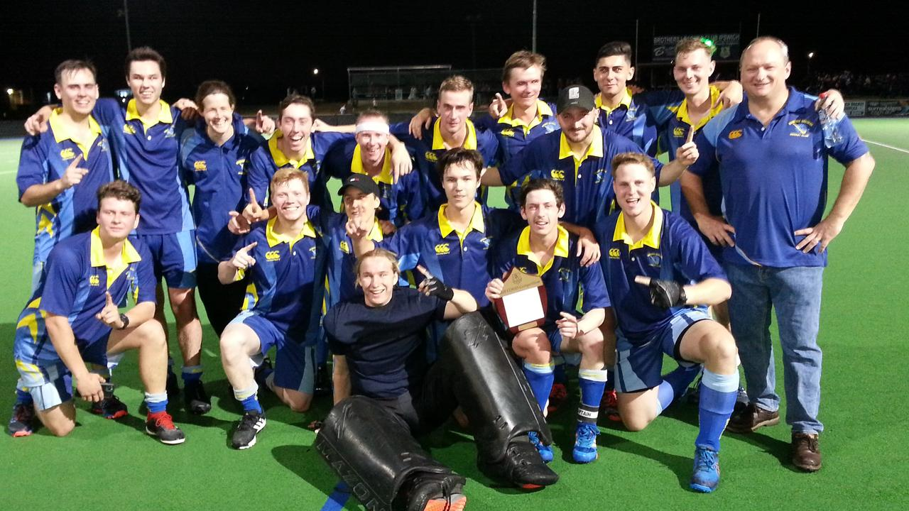 The Hancocks A-Grade hockey side celebrate their latest grand final victory after one of the most exciting matches seen at the Ipswich Hockey Complex in years. Picture: David Lems