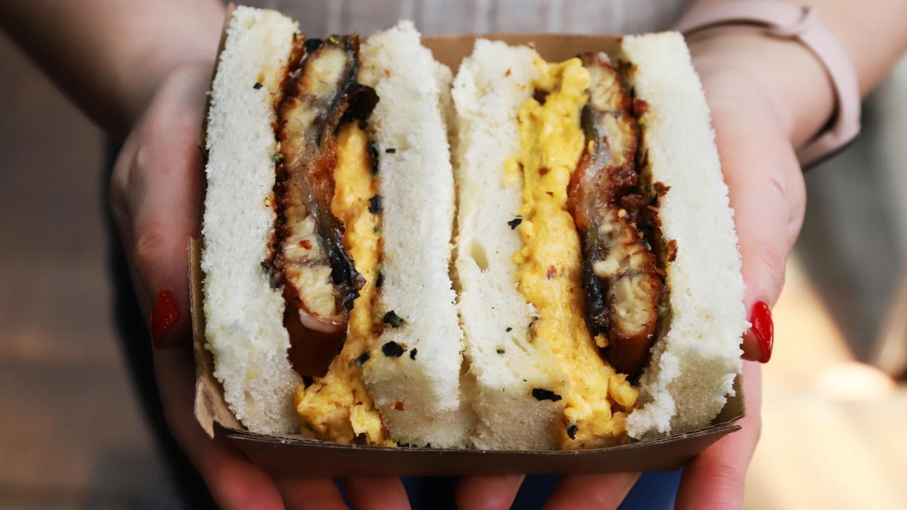 Devon Cafe's uni, unagi, Tamago sando. Picture: Jenifer Jagielski