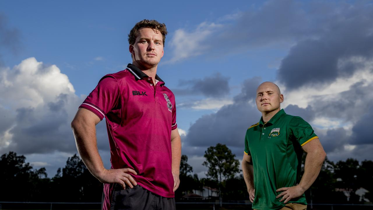 Saturday's livestream will pit Surfers Paradise against Nerang in rugby. Joshua Edmond Nerang Bulls Captain and Alex Behns from Surfers Paradise at the Nerang Bulls home field. Picture: Jerad Williams