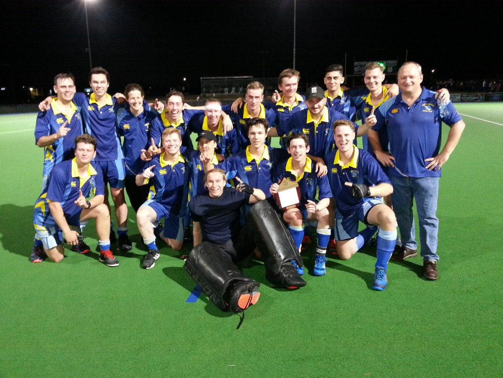 Image for sale: The Hancocks A-Grade hockey side celebrate their latest grand final victory after one of the most exciting matches seen at the Ipswich Hockey Complex in years. Picture: David Lems
