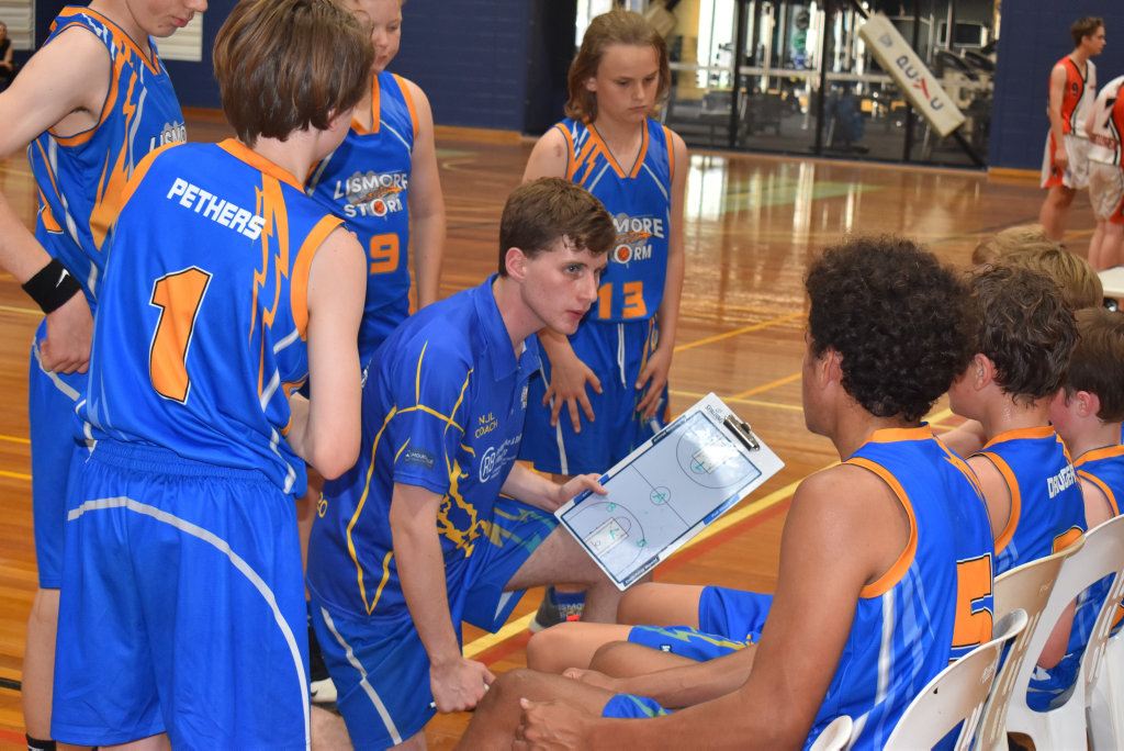 Image for sale: Lismore talk tactics at quarter time in the match against Bellingen in the North Coast Shield Under-14 Division One competition played at PCYC Grafton on Sunday, 20th September, 2020. Photos Bill North / The Daily Examiner