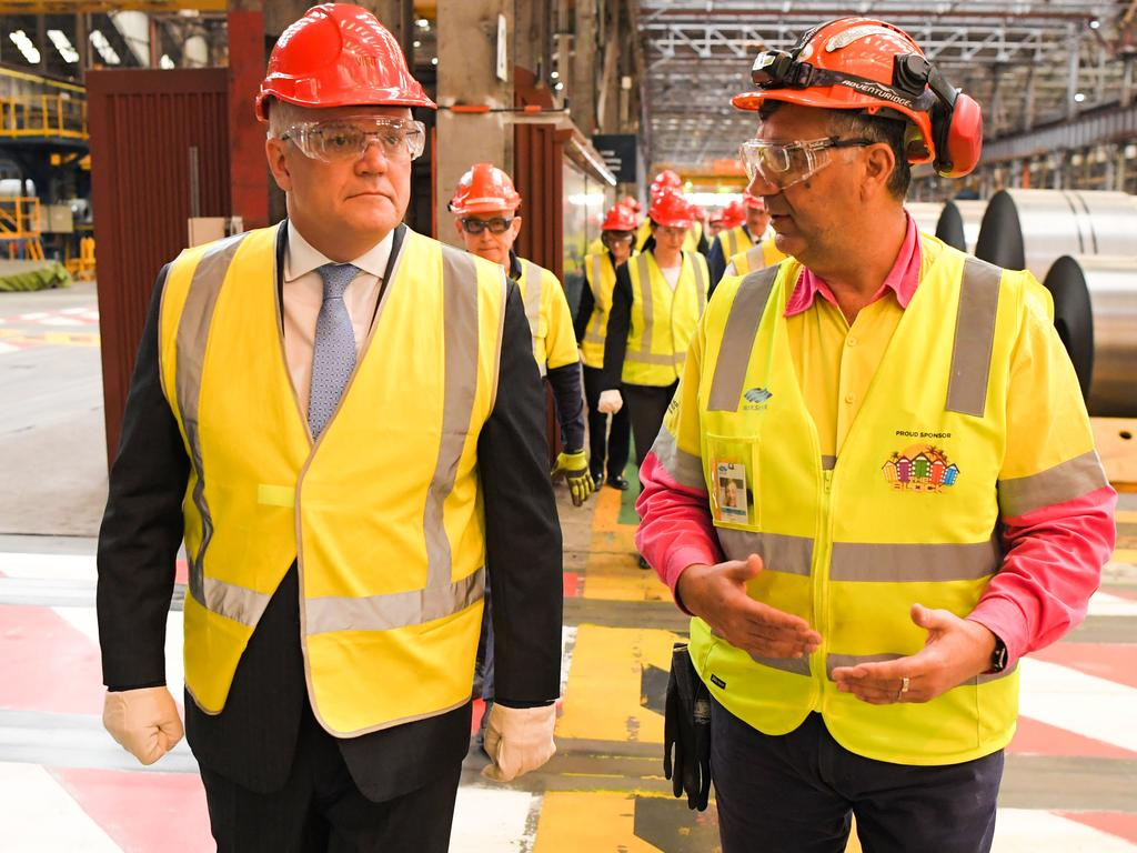 Prime Minister Scott Morrison attends a walk through at BlueScope Steel in Port Kembla. Picture: NCA NewsWire / Simon Bullard.