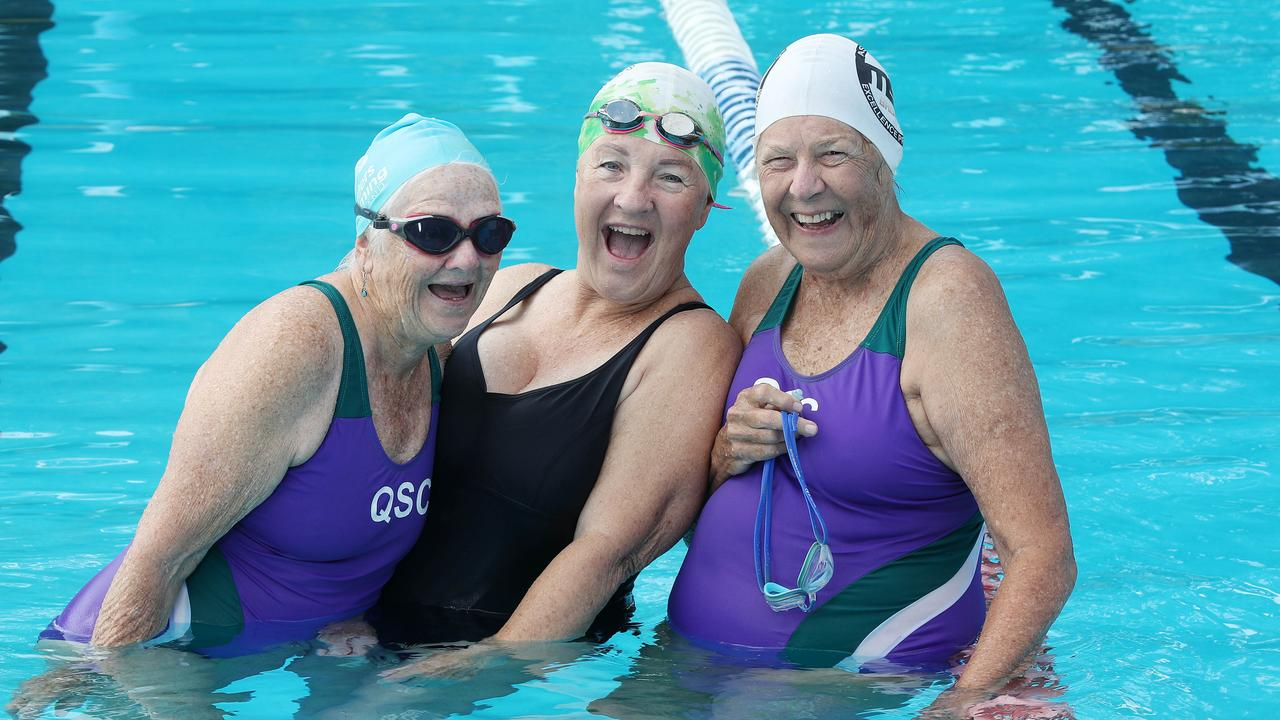 Carol Wilson, Bronwyn Low, and Val Sheehan are members of the Sunshine Coast Master Swimmers. Picture: Tara Croser